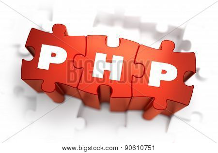PHP - Hypertext Preprocessor - White Word on Red Puzzles on White Background. 3D Render. stock photo