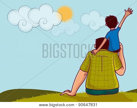 Illustration of a little boy sitting on his daddy\'s shoulder on nature background for Happy Father\'s