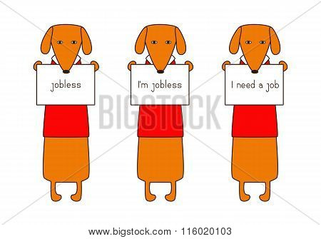 Set of cute orange colored brown contoured dachshunds in red sweaters with white collar standing on hind legs with dissolved forelegs holding plates in paws. Concept of jobless and looking for job. Flat style illustration stock photo