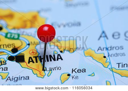 Photo of pinned Lavrio on a map of Greece. May be used as illustration for traveling theme. stock photo