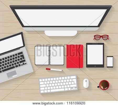 Table Working Businees Meeting High Angle View stock photo