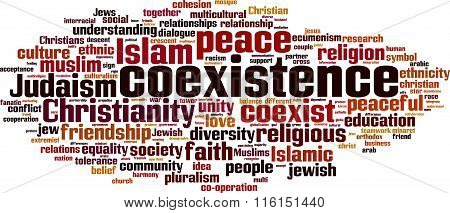 Coexistence word cloud concept. Vector illustration on white stock photo