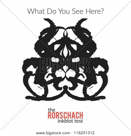 The rorschach inkblot test vector isolated variation for psychological test for psychologists and their patients. The Rorschach technique with hand drawn ink blot used in psychology. stock photo
