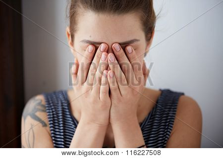 Frustrated Stressed Young Woman. Headshot Unhappy Overwhelmed Girl Having Headache Bad Day Keeps Han