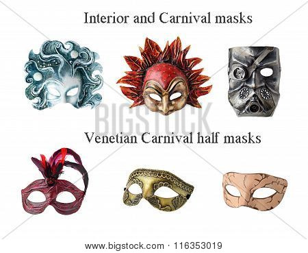 Set of 6 Interior and carnaval masks. Handmade papier mache, acrylic paints and accessories.  Isolated on white background stock photo