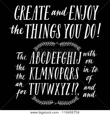 Hand drawn brush ink vector ABC letters set with calligraphic articles and prepositions. Trendy doodle calligraphy font for your design. stock photo