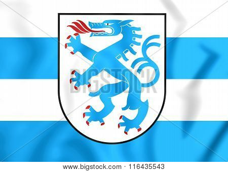 3D Flag of Ingolstadt Germany. Close Up. stock photo