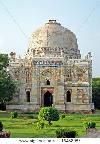 Lodi Gardens. Islamic Tomb (Seesh Gumbad) set in landscaped gardens. 15th Century AD. New Delhi, India stock photo