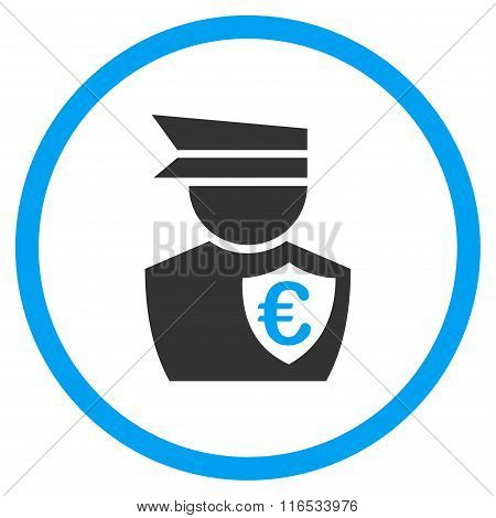 Euro Commissioner glyph icon. Style is bicolor flat circled symbol, blue and gray colors, rounded angles, white background. stock photo