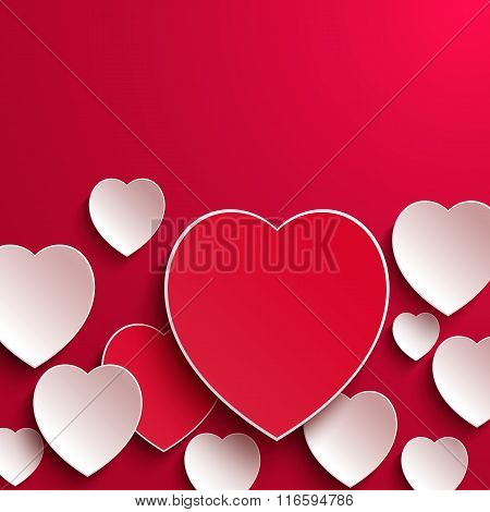 Valentines Day. Abstract Paper Hearts