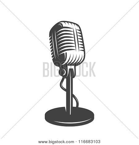 Vector illustration of isolated retro, vintage microphone. stock photo