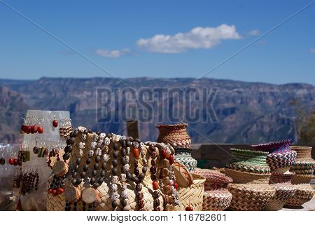 Tarahumara made souvenirs sold in the Copper Canyons Chihuahua Mexico stock photo