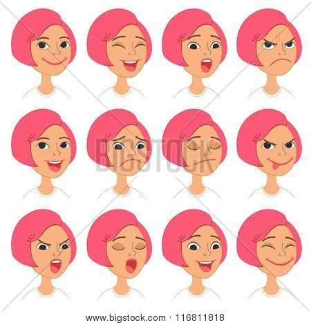 Cartoon girl\'s emotions and expressions set.