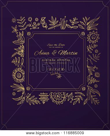 Gold ornate frame for invitations or announcements. stock photo