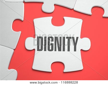 Dignity - Text on Puzzle on the Place of Missing Pieces. Scarlett Background. Closeup. 3d Illustration. stock photo