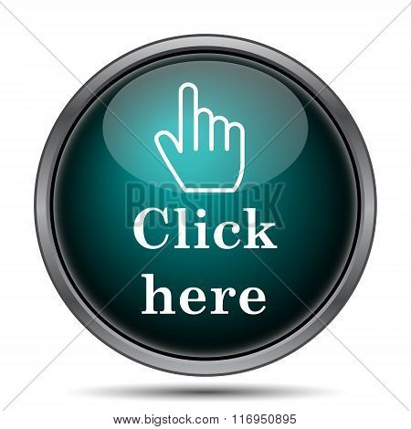 Click here icon. Internet button on white background. stock photo