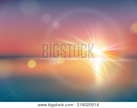 Natural background with bright sunlight, with light effect, lens flare, realistic vector illustration. Horizon with a solar flash with golden rays during sunrise or sunset