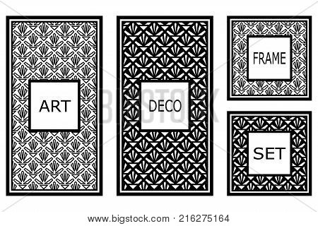 Vintage retro frames set in Art Deco style. Template for design. Vector illustration stock photo