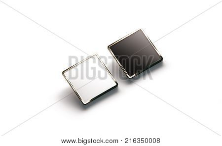 Blank black and white square gold lapel badge mockup side view 3d rendering. Empty luxury hard enamel pin mock up. Golden clasp-pin design template. Expensive square brooch for logo presentation stock photo