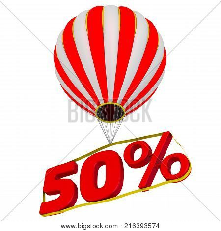 Fifty percentage flies in a hot air balloon. Isolated. 3D Illustration stock photo