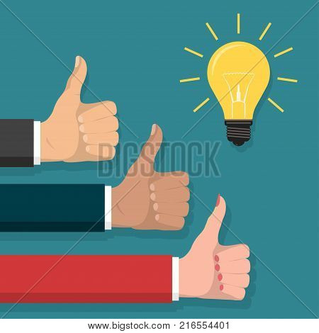 Great idea, Thumb up symbol flat style, Cheering businessmen Hands show finger Like sign. Lightbulb innovative solution, business, creative idea concept. Vector stock photo