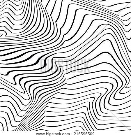 Pattern Abstract vector texture of curving lines, black and white narrow stripes, visual halftone effect, illusion of movement, op art pattern, dynamical ripple surface, artistic monochrome background
