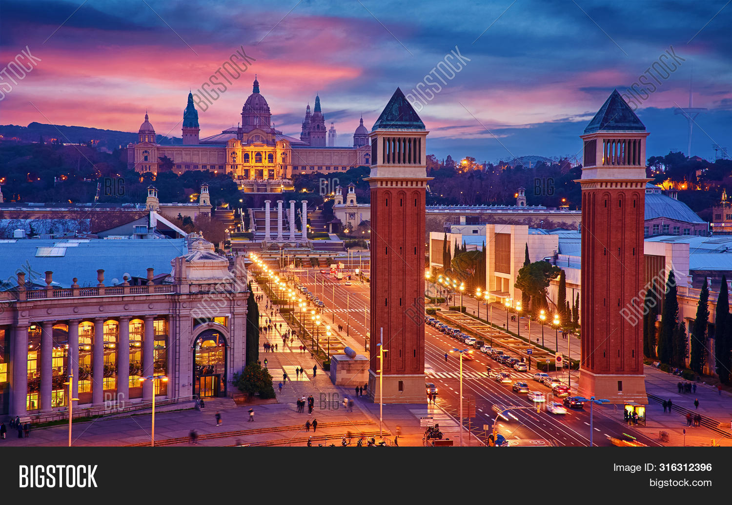 aerial,architecture,art,art museum,barcelona,beautiful,building,catalan,catalonia,catalonian,city,cityscape,culture,dusk,europe,european union,evening,landmark,landscape,location,mediterranean,megalopolis,metropolis,montjuic,museum,night,nightlife,nighttime,palace,panorama,romantic,royal,scene,skyline,spain,spanish,spanish square,square,square of spain,street,summer,sunset,top,top view,tourist,tower,town,traffic,travel,urban