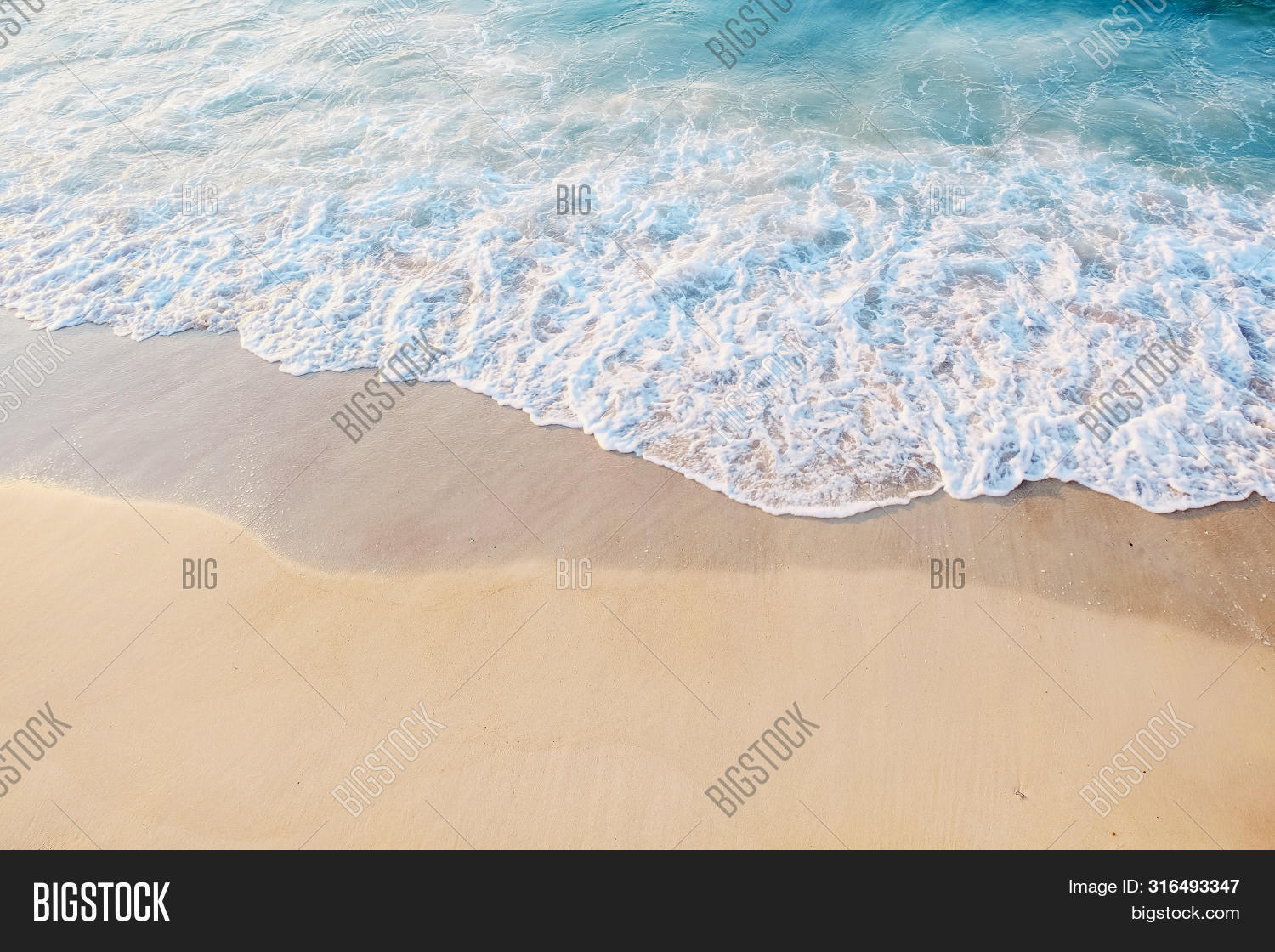 Sea Shore Close-up. Beautiful Blue Water With Foam Near The Sandy Shore. Place For Text. The Concept