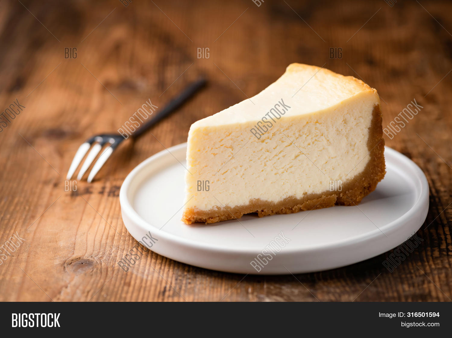 Cheesecake Slice, New York Style Classical Cheese Cake On Wooden Background. Slice Of Tasty Cake On