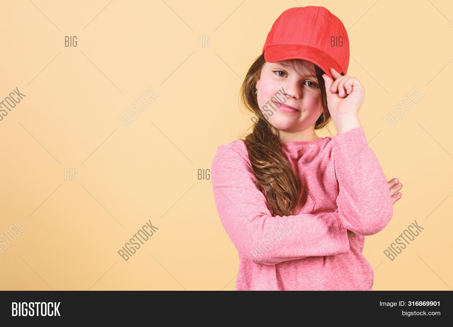 Cutie In Cap. Stylish Accessory. Kids Fashion. Feeling Confident With This Cap. Girl Cute Child Wear