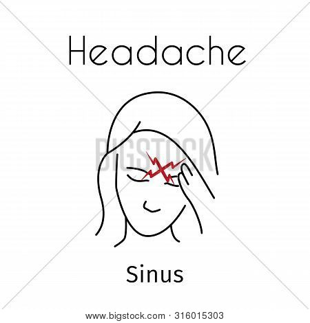 Headache linear icon. Vector abstract minimal illustration of girl with red zigzag on the head suffers from headache. Sinus headache type. Design template for medicine or therapy for headache stock photo