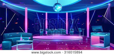 Nightclub interior with bright neon illumination, stools near bar counter, comfortable sofa, alcohol drinks on table, DJ equipment on desk, disco ball under dance floor cartoon vector illustration stock photo