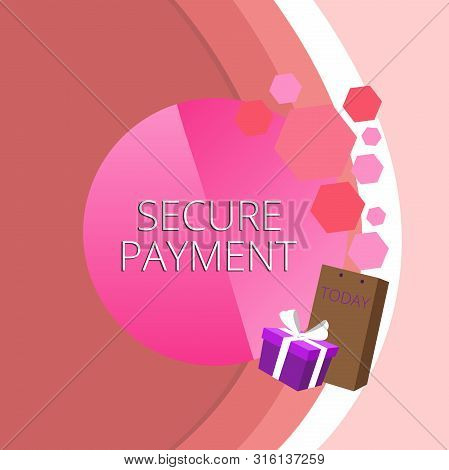 Text sign showing Secure Payment. Conceptual photo Security of Payment refers to ensure of paid even in dispute Greeting Card Poster Gift Package Presentation Box Decorated by Bowknot. stock photo