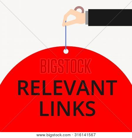 Word writing text Relevant Links. Business concept for Significant sites for a particular topic Associated Male hand arm needle punching big half blank balloon geometrical background. stock photo