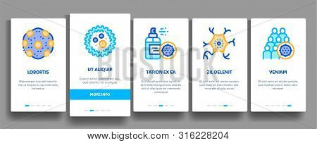 Collection Bacteria Germs Vector Onboarding Mobile App Page Screen. Unhealthy Tooth And Dirty Hands, Sternutation Character And Illness People With Germs Linear Pictograms. Microbe Types Illustrations stock photo