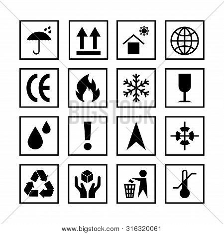 Packaging Symbols Set Isolated On White Background. Packing Icon Collection Including Fragile, Recyc