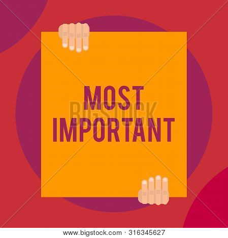 Word writing text Most Important. Business concept for Greatest or highest degree quantity or the like Significant Two hands holding big blank rectangle up down Geometrical background design. stock photo