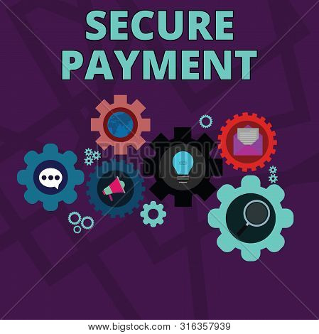 Word writing text Secure Payment. Business concept for Security of Payment refers to ensure of paid even in dispute Set of Global Online Social Networking Icons Inside Colorful Cog Wheel Gear. stock photo