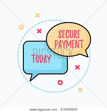 Conceptual hand writing showing Secure Payment. Business photo text Security of Payment refers to ensure of paid even in dispute Pair of Overlapping Bubbles of Oval and Rectangular Shape. stock photo