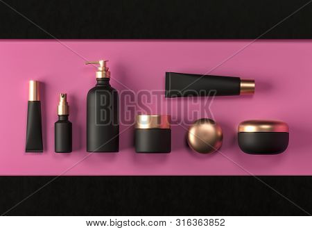 Cosmetic mock up set. Cosmetic black packaging bottles jar and tube. Make up blank face cream tube, spray. Trendy gold realistic beauty products on pink background. Skin or hair care. 3d rendering stock photo