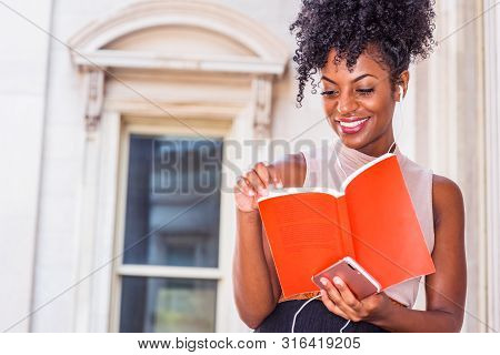 Young  African American Woman With Afro Hairstyle Wearing Mesh Sheer Long Sleeve Shirt Blouse, Walki