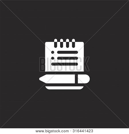 notes icon. notes icon vector flat illustration for graphic and web design isolated on black background from news collection. notes icon trendy and modern notes symbol for logo, web, app, UI. notes icon simple sign. stock photo