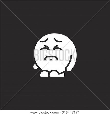 sad icon. sad icon vector flat illustration for graphic and web design isolated on black background from emoji people collection. sad icon trendy and modern sad symbol for logo, web, app, UI. sad icon simple sign. stock photo