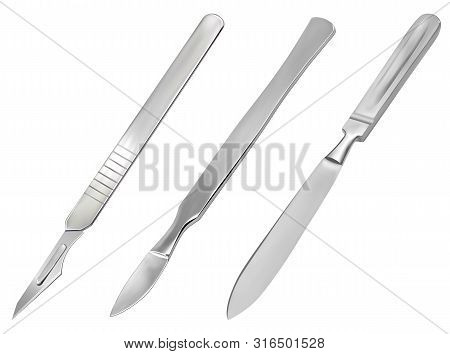 A set of surgical cutting tools. Reusable all-metal scalpel, delicate pointed scalpel with removable blade and amputation knife Liston. Realistic objects on a white background. Vector stock photo