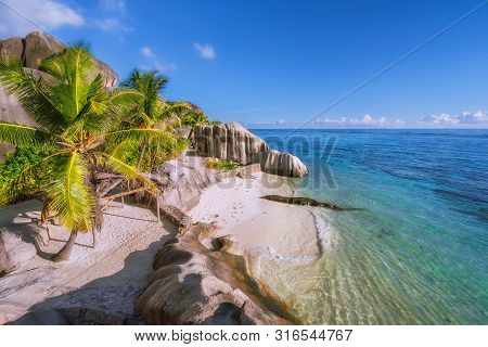 Highlights of Seychelles - most beautiful epic Anse Source DArgent beach, La Digue stock photo