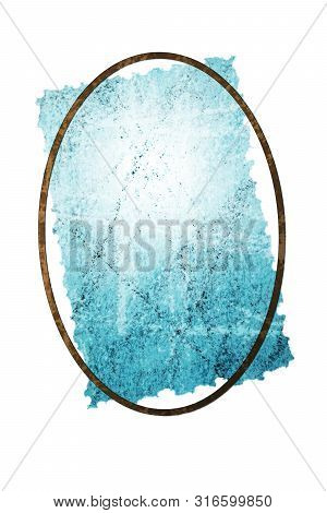 Blue crumpled and scratched old paper under oval frame isolated on white background. Copy space. Grunge effect. stock photo