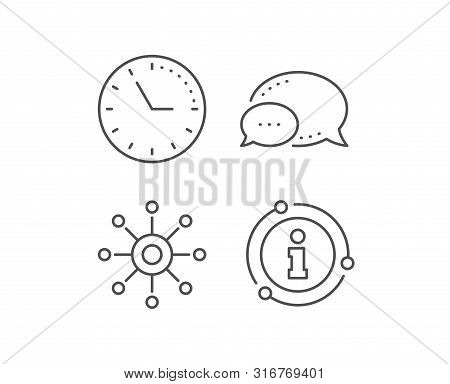 Multichannel line icon. Chat bubble, info sign elements. Multitasking sign. Omnichannel symbol. Linear multichannel outline icon. Information bubble. Vector stock photo