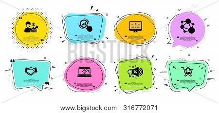 Music making, Graph chart and Integrity line icons set. Chat bubbles with quotes. Sale megaphone, Seo laptop and Handshake signs. Cross sell, Business growth symbols. Dj app, Get report. Vector stock photo