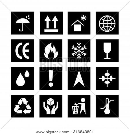 Packaging Black Symbols Set Isolated On White Background. Packing Icon Collection Including Fragile,