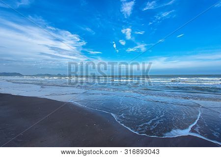 Sea wave foam on Karon beach Phuket Thailand. Exotic paradise of Thailand beach Asia. Peaceful ocean wave at beach. Perfect resort for relax. Ocean wave. Sea waves on beach. Sea beach stock photo